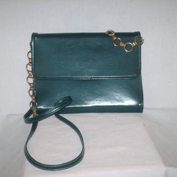 Vintage 1980s Green Clutch Purse Gold Straps