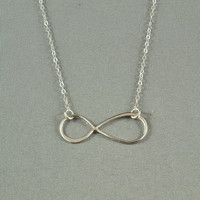 Large INFINITY Necklace, 925 Sterling Silver, Modern, Simple, Pretty, Everyday Wear Jewelry