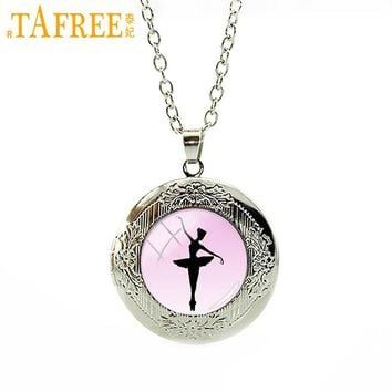 New stylish Ballerina Dancing Glass Pendant Necklace
