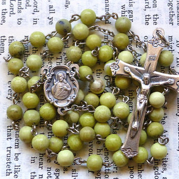 Sacred Heart Rosary - Catholic Rosary, Scapular, Green, Yellow, Serpentine