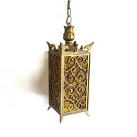 Vintage Pendant Light Fixture Textured Amber Panels Gothic Style