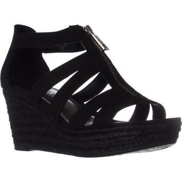 Lauren Ralph Lauren Kelcie Platform Wedge Sandals, Black, 8.5 US / 39.5 EU