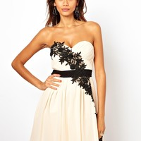 Little Mistress Floral Applique Skater Dress