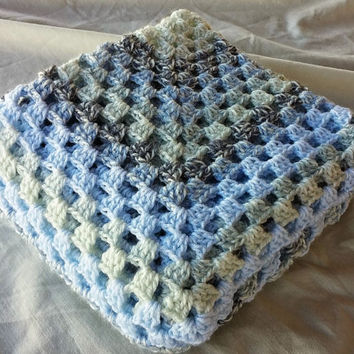 Baby blanket crochet Granny Square afghan Shades of blue blanket Boy's room decor Unisex blankie Baby shower gift