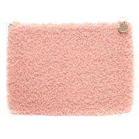 Textured Fuzzy Pale Peach Clutch