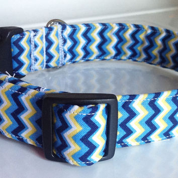 Blue & Yellow Chevron Collar for Male & Female Dogs or Cats