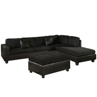 US Pride Sierra Microfiber Sectional Sofa with Ottoman, Right, Black
