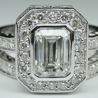 Engagement Ring - Emerald Cut Diamond Bezel Set Double Halo Bridal Set: Engagement Ring & Wedding Band - ES926ECBSWG