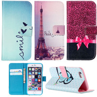 For Apple iphone 6 6s Plus 6PLUS 4 4S 5 5S 5C SE 7 7Plus Tower Owl Flower Cover Wallet Stand Dress Flip Leather Case Card Holder