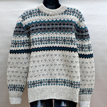 1970's Wool Environmental Clothing Co. Sweater - Fair Isle - Beige Heather w/ Teal & Black Designs - Crewneck Pullover