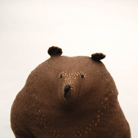 Big Brown Bear Soft Toy for Kids - Stitched woodland animal doll - Embroidered animal friend