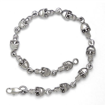Great Deal New Arrival Hot Sale Gift Awesome Shiny Titanium Skull Stylish Strong Character Stainless Steel Accessory Bracelet [6542699587]