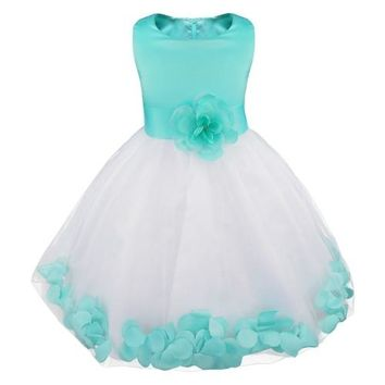 Little Girls Mint and White Tulle Flower Petals Fancy Dress Perfect for Weddings Pageants ETC