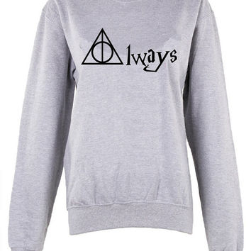 Harry Potter Hogwarts Logo Always triangle shirt womens ladies  print  sweatshirt