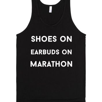 shoes on earbuds on marathon