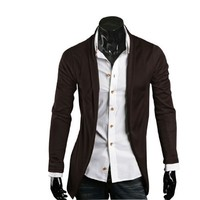 Allegra K Men Stylish Stretch Open Front Long Sleeve Leisure Fall Coat Coffee Color M