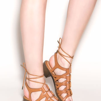 Laying Low Lace-Up Block Heels