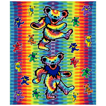 Blanket  Grateful Dead Dancing Bears Tie Dye Fleece