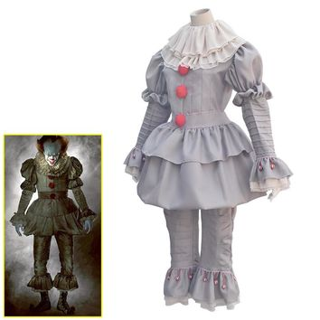 2018 Halloween Costume Movie Stephen King's It Pennywise Cosplay Costume Scary Joker Suit Fancy Masquerade Party Prop It Masks