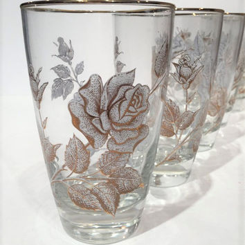 Libbey Rose Bouquet Highball Glasses, Vintage Libbey Rose Pattern Glasses with Gold Trim, Mad Men Retro Barware, Amazing Condition