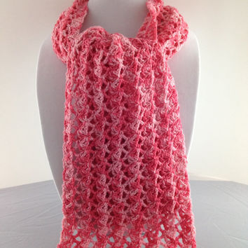 Summer Scarf - Scarf - Wrap - Crochet Scarf - Neckwarmer - Lace - Peach - Pink - Summer -  Wool - For Her - For Mom