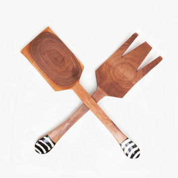Olive Wood Fork and Spoon Salad Serving Set