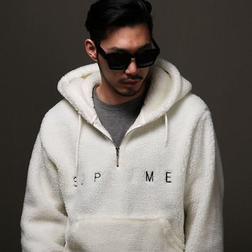 Mens Sherpa Half Zip Up Pullover Hoodie at Fabrixquare