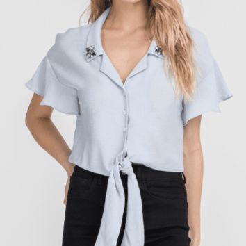 Women's Flutter Sleeve Cropped Blouse with Jeweled Collar Accents