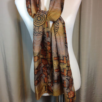 Brown Black and Rust Long Silk Scarf with Hand Rolled Hem 11.75 Inches Wide 70.5 Inches Long