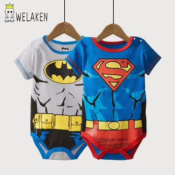 weLaken Infant Short Sleeve Super Man Cartoon Romper Boys Girls Cute Clothes Newborn Baby Costume Jumpsuits Baby Rompers