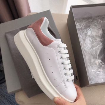 Alexander Mcqueen's world-class classic leather casual shoes watermelon Pink scrub