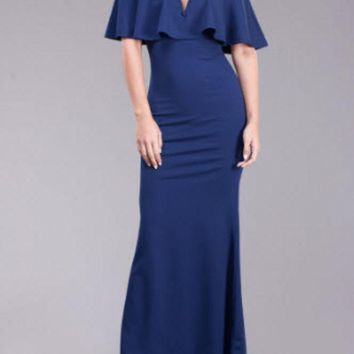 ONETOW Navy Off the Shoulder Ruffle Maxi Dress