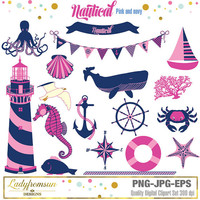 Nautical Pink and Navy blue,girl,  Clip Art, Anchor , Whale, octopus, Sailing, Ocean, Lighthouse, Sailboat,  Sea, Commercial-Personal Use