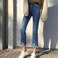 Frayed Boot Cut Jeans