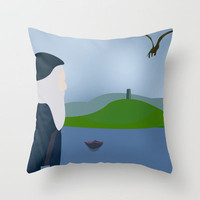 Merlin Is Waiting Throw Pillow by Jessica Slater Design & Illustration