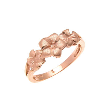 SOLID 14K ROSE GOLD HAWAIIAN 5MM-7MM-5MM PLUMERIA FLOWER RING