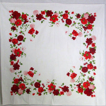 Vintage Tablecloth Wilendur Wilendure Red White Floral Flowers Vintage Linens Antique Textiles