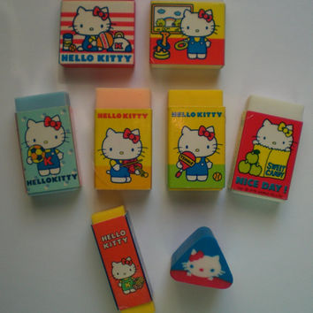 1976 Sanrio Hello Kitty Eraser Collection Lot of 7 + bonus Japan