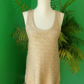 Anthropologie MOTH Sleeveless Sweater Tunic Tank Top Size M Metallic Gold