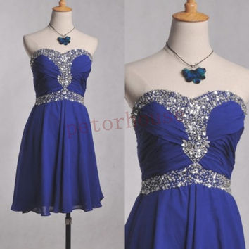 Dark Royal Blue Beaded Short Prom Dresses 2015, Hot Prom Dresses, Party Dresses, Homecoming Dresses,wedding Party Dresses ,Prom Dresses