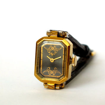 Ornate Black Dial Womens Watch LUCH. Vintage Ladies Watch. Mechanical Womens Wrist Watch. Octagonal Watch leather Strap. Gift For Her
