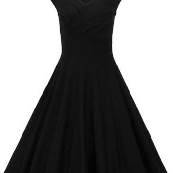 Black Heart Shape Collar Sleeveless Skater Dress