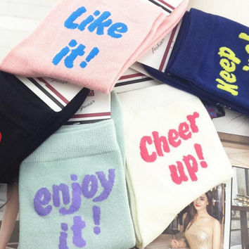 NEW design women's fashion Pretty cute words  sold out! like it! enjoy it! cheer up! keep going! Cotton Socks brand socks 2017