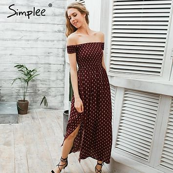 Simplee Side split off shoulder print long dress Women wine red high waist pleated maxi dress Chic split boho dress vestidos