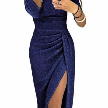 Navy Metallic Glitter Off Shoulder Formal Dress