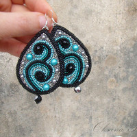 Beaded earrings. Bead embroidered earrings. Dangle earrings. Silver Black Turquoise.