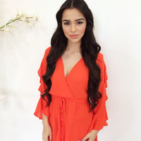 Closer To The Sunset Playsuit- Neon Orange