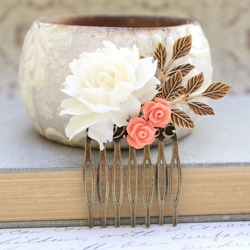White Rose Comb Coral Peach Rose Floral Collage Hair Accessories Wedding Bridal Cream Rose Gold Leaf Leaves Winter Holidays Beach Wedding
