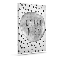 "Vasare Nar ""Carpe Diem"" Quote Gray Outdoor Canvas Wall Art"