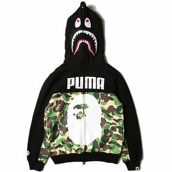 AAPE & PUMA Joint Men's Hooded Camouflage Cardigan Zip Hoodie F0576-1 Camouflage green